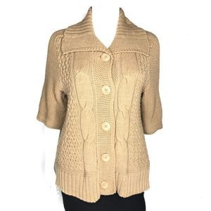 Chico's Cardigan Sweater Short Sleeve Cable Knit 1